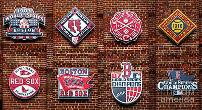 Boston Red Sox World Series Emblems Art Print by Diane Diederich