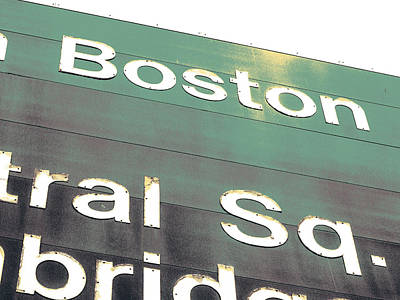 Harvard Mixed Media - Boston Road Sign by Shay Culligan
