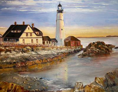 Painting - Boston Rocky Coast by Arlen Avernian Thorensen