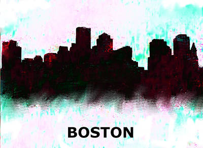 Ben Affleck Painting - Boston Skyline  1 by Enki Art