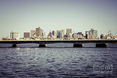 Boston Skyline And Back Bay Harvard Bridge Retro Photo Art Print by Paul Velgos