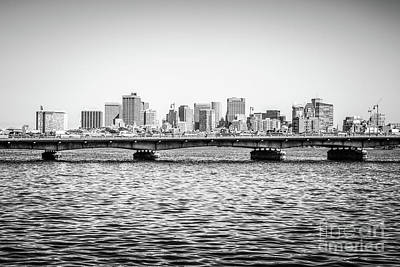 Boston Skyline And Harvard Bridge Black And White Photo Art Print by Paul Velgos
