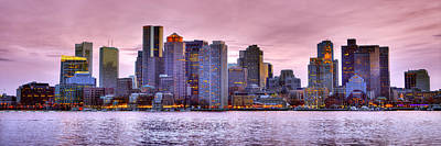 Photograph - Boston Skyline At Dusk Color Panorama Pano by Jon Holiday