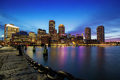 Photograph - Boston Skyline At Dusk by Mircea Costina Photography
