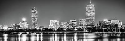 Charles River Photograph - Boston Skyline At Night Black And White Panorama Picture by Paul Velgos