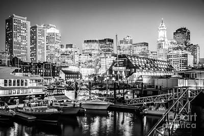 Boston Skyline At Night Black And White Photo Art Print