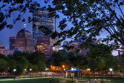 Boston Skyline At Night From The Boston Common Art Print by Joann Vitali