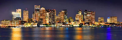 Boston Skyline Panoramic Photograph - Boston Skyline At Night Panorama by Jon Holiday
