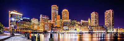 Boston Skyline Panoramic Photograph - Boston Skyline At Night Panorama Picture by Paul Velgos