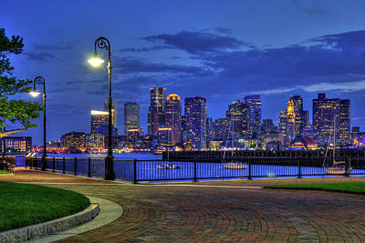 Photograph - Boston Skyline At Night - Piers Park by Joann Vitali