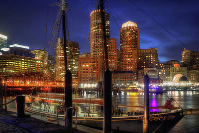 Photograph - Boston Skyline At Night - The Roseway - Boston Harbor by Joann Vitali