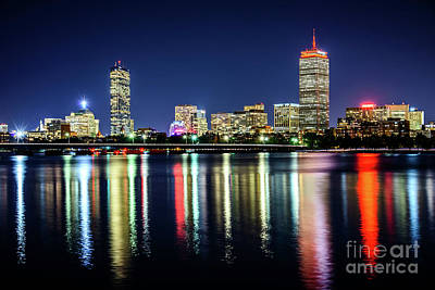 Harvard Wall Art - Photograph - Boston Skyline At Night With Harvard Bridge by Paul Velgos