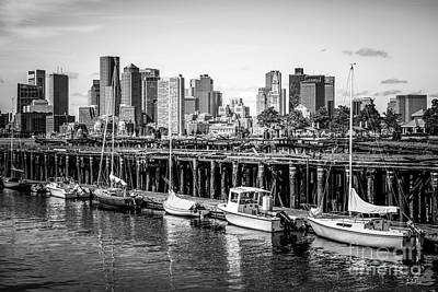 Boston Skyline At Piers Park Black And White Photo Art Print