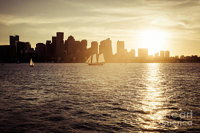 Boston Skyline At Sunset Photo Art Print