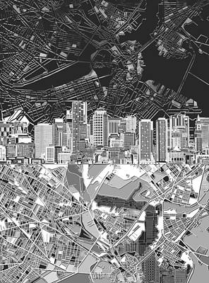 Digital Art - Boston Skyline Black And White 2 by Bekim Art