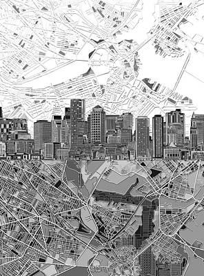 Boston Skyline Painting - Boston Skyline Black And White 3 by Bekim Art