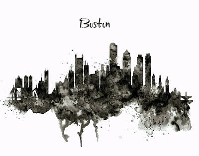 Digital Art - Boston Skyline Black And White by Marian Voicu