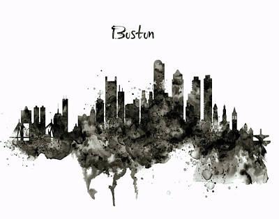 Scale Digital Art - Boston Skyline Black And White by Marian Voicu