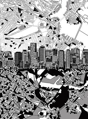 Boston Painting - Boston Skyline Black And White by Bekim Art