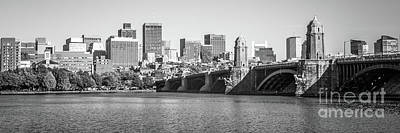 Boston Skyline Black And White Panorama Photo Art Print