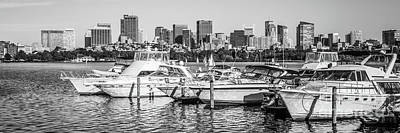 Charles River Photograph - Boston Skyline Black And White Panoramic Photo by Paul Velgos
