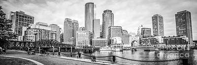 Harbor Bridge Wall Art - Photograph - Boston Skyline Black And White Panoramic Picture by Paul Velgos
