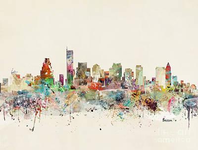 Painting - Boston Skyline by Bleu Bri