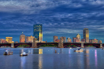 Boston Skyline Blue Hour Sunset Art Print