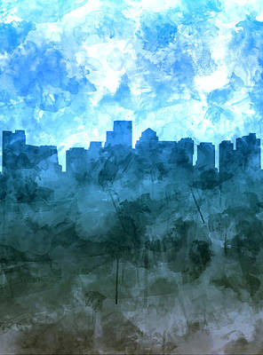 Painting - Boston Skyline Blue Watercolor 2 by Bekim Art