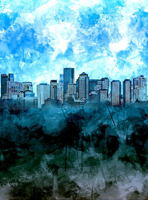 Painting - Boston Skyline Blue Watercolor by Bekim Art