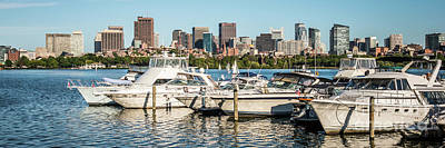 Charles River Photograph - Boston Skyline Charles River Boats Panorama Photo by Paul Velgos