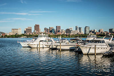 Charles River Photograph - Boston Skyline Charles River Boats Photo by Paul Velgos