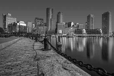 Photograph - Boston Skyline Dawn Bw by Susan Candelario