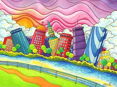 Boston Skyline Original by Denyse Dar