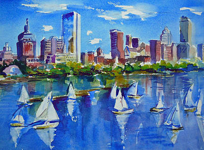 Sailboats Painting - Boston Skyline by Diane Bell