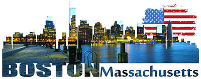 Boston Skyline Original by Don Kuing