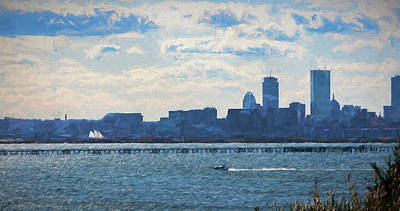 Painting - Boston Skyline From Deer Island by Thomas Logan