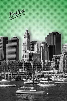 Sightseeing Digital Art - Boston Skyline - Graphic Art - Green by Melanie Viola