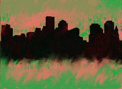 Ben Affleck Wall Art - Painting - Boston Skyline Green  by Enki Art
