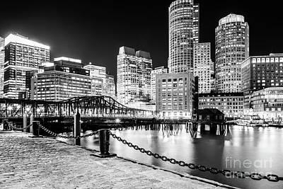 Boston Skyline Harbor At Night Black And White Photo Art Print
