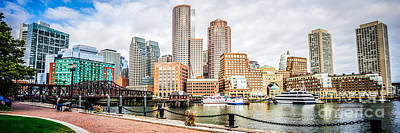 Boston Skyline Panoramic Photograph - Boston Skyline Harborwalk Panorama Picture by Paul Velgos
