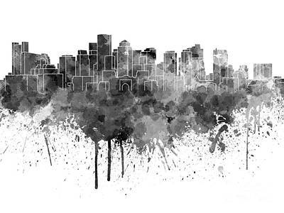 Boston Landmark Painting - Boston Skyline In Black Watercolor On White Background by Pablo Romero