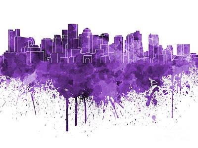 Boston Landmark Painting - Boston Skyline In Purple Watercolor On White Background by Pablo Romero