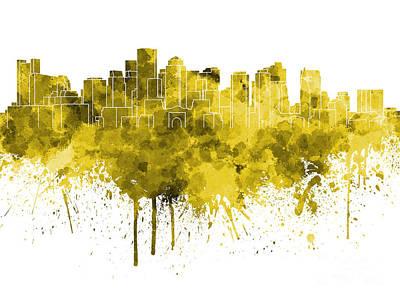 Boston Landmark Painting - Boston Skyline In Yellow Watercolor On White Background by Pablo Romero