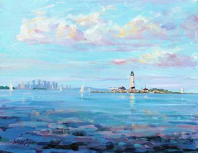 Lighthouse Wall Art - Painting - Boston Skyline by Laura Lee Zanghetti