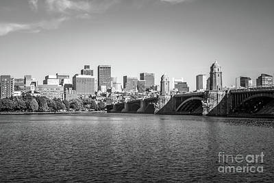 Boston Skyline Longfellow Bridge Black And White Photo Art Print by Paul Velgos