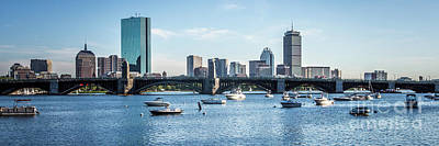 Longfellow Photograph - Boston Skyline Longfellow Bridge Panorama Photo by Paul Velgos