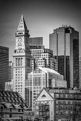Custom House Tower Photograph - Boston Skyline North End And Financial District - Monochrom by Melanie Viola