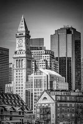 Boston Skyline North End And Financial District - Monochrom Art Print