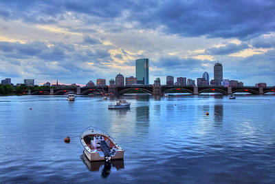 Boston Skyline On The Charles River At Sunset Art Print